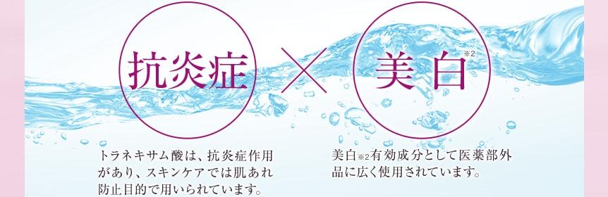 抗炎症×美白※2 トラネキサム酸は、抗炎症作用があり、スキンケアでは肌あれ防止目的で用いられています。 美白※2有効成分として医薬部外品に広く使用されています。