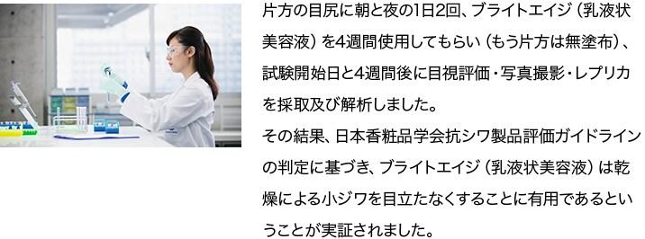 片方の目尻に朝と夜の1日2回、ブライトエイジ(乳液状美容液)を4週間使用してもらい(もう片方は無塗布)、試験開始日と4週間後に目視評価・写真撮影・レプリカを採取及び解析しました。その結果、日本香粧品学会抗シワ製品評価ガイドラインの判定に基づき、ブライトエイジ(乳液状美容液)は乾燥による小ジワを目立たなくすることに有用であるということが実証されました。